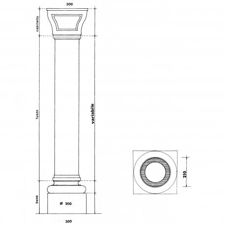Capitello bizantino con fusto cilindrico